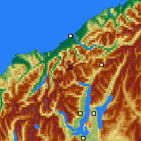 Nearby Forecast Locations - Mt Aspiring NP - Χάρτης