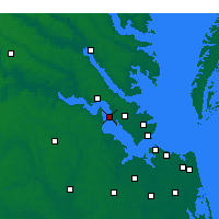 Nearby Forecast Locations - Fort Eustis - Χάρτης
