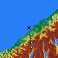 Nearby Forecast Locations - Ōkārito Lagoon - Χάρτης
