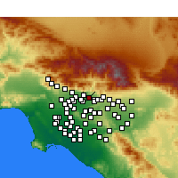 Nearby Forecast Locations - Azusa - Χάρτης