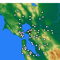 Nearby Forecast Locations - El Sobrante - Χάρτης