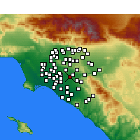 Nearby Forecast Locations - Fullerton - Χάρτης